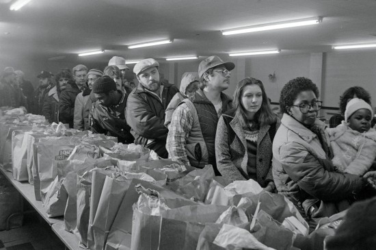 People Waiting in Line at a Food Bank