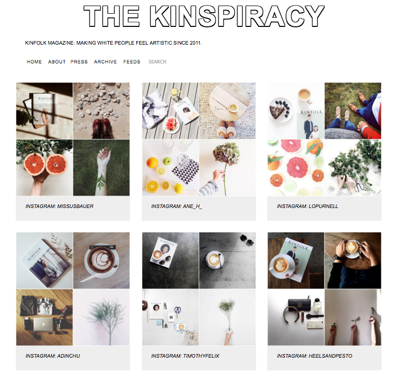 Kinspiracy after Kinfolk Magazine (c. 2011)