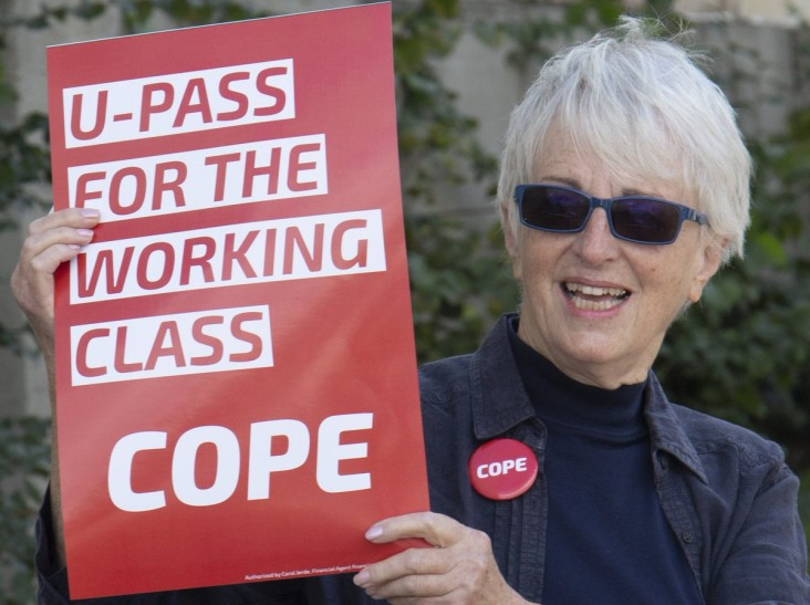 Anne rallying for $41/month transit passes for working class Vancouverites, October 2, 2018 (Courtesy of Anne Roberts)
