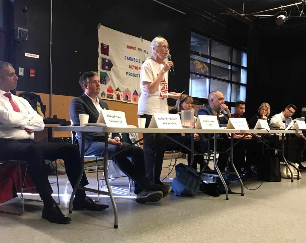 Jean Swanson speaking at the Downtown Eastside All-Candidates Debate at Carnegie Community Centre on September 28, 2018. Photo: Sydney Ball