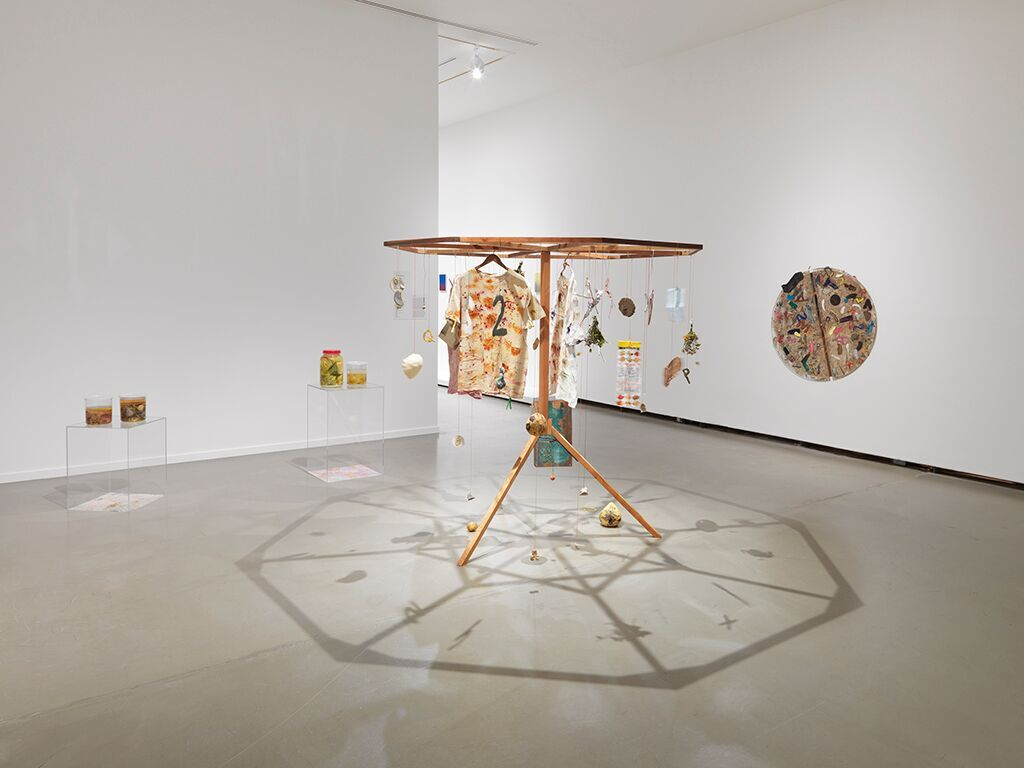 Installation view of Derya Akay, cyclodrum, courage, bread, and roses, culture and tomatoes, 2015–16, in Vancouver Special: Ambivalent Pleasures, exhibition at the Vancouver Art Gallery, December 3, 2016 to April 17, 2017