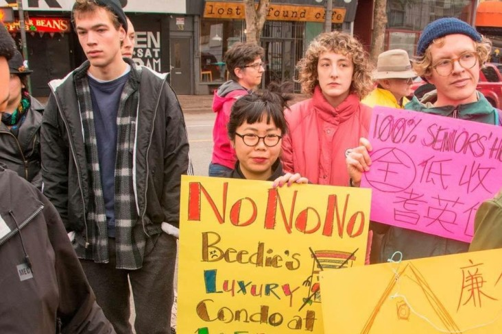 Steff Ling at protest against Beedie's 105 Keefer development proposal, photo credit Lawrence Boxall