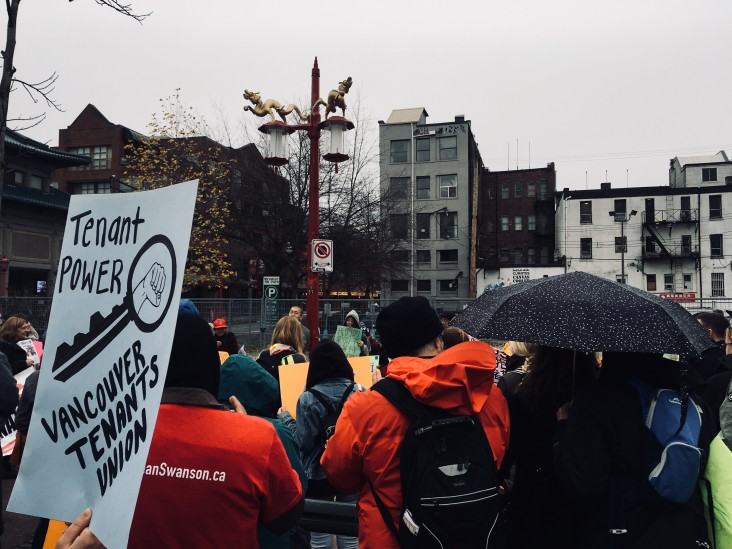 Rally for a National Housing Strategy at 105 Keefer Street in Vancouver on November 25, 2017 (photo by author)